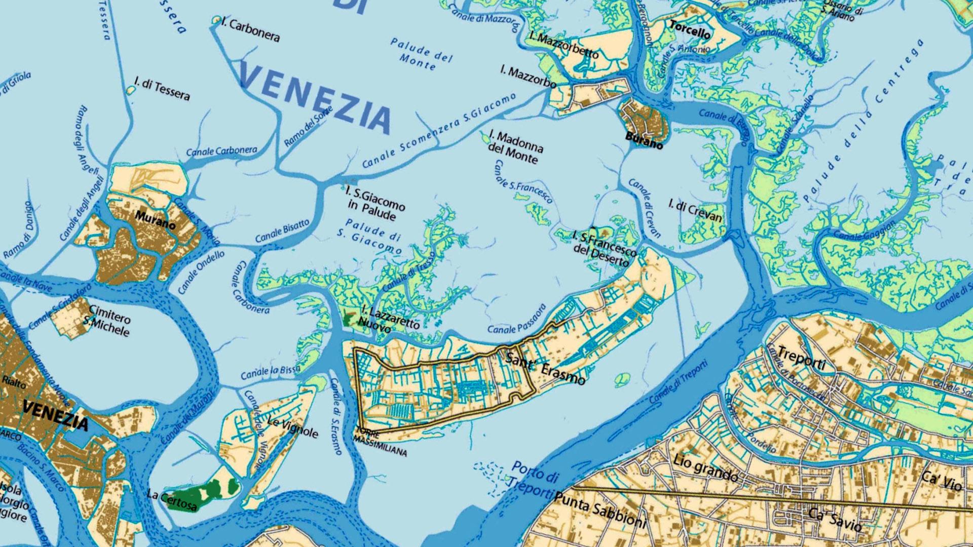Mappa laguna di venezia - nord