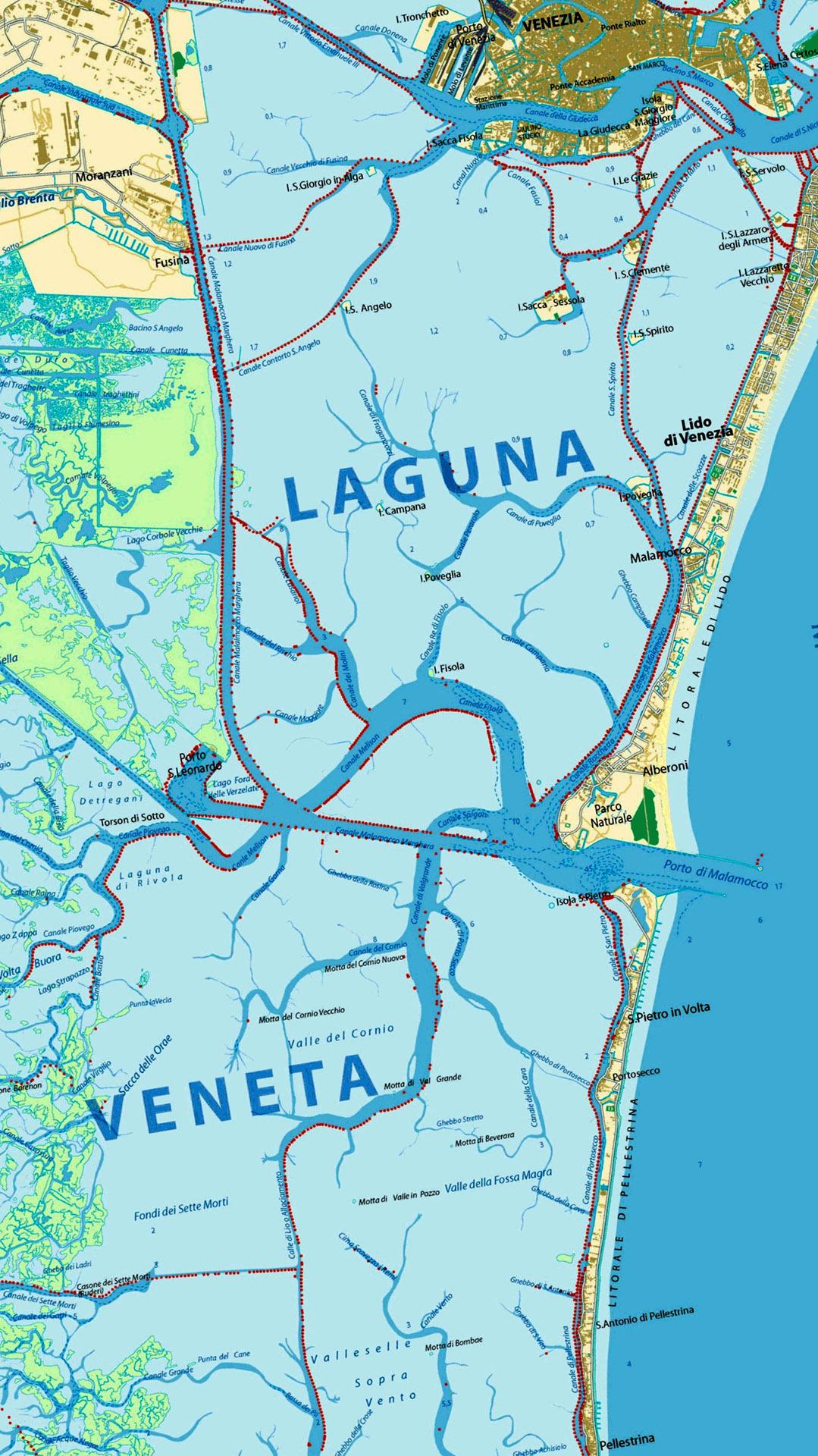 Mappa laguna di Venezia - sud